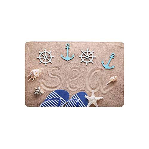 LVOE TTL Flip Flop am Strand Sand mit nautischen Anker und Star Fish Fußmatte Anti-Rutsch-Eingangsmatte Boden Teppich Indoor/Outdoor/Front Door Mat Home Decor, Gummi-Rücken 23,6 X 15,8 Zoll