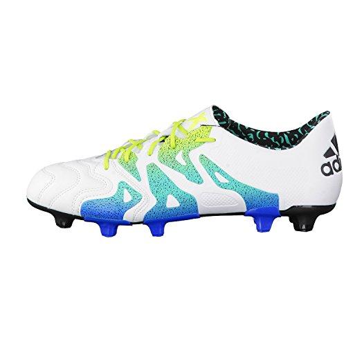 adidas X 15.1 FG/Ag Leather, Scarpe da Calcio Uomo, Multicolore Multicolore (Blanco / Verde / Negro (Ftwbla / Seliso / Negbas))