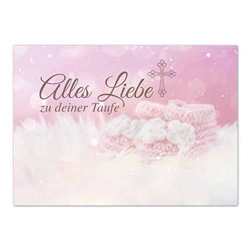 Glückwunschkarte Taufe mit Umschlag/Baby Schuhe Rosa/Taufkarten/Karte für Glückwünsche/zur Feier
