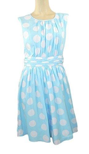 dickins-jones-pale-blue-spotted-floaty-abito-senza-maniche-orig-prezzo-59-blue-taglia-50