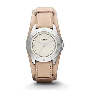Fossil Damen-Armbanduhr Retro Traveler Analog Quarz Leder AM4459