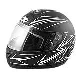 Saferide   Integralhelm Black-Weiß Matt XL 61-62 cm Helm Motorrad Quad Damen Herren Roller Gesichtsschutz Klapphelm Erwachsene Regenschutz Sturzhelm Motorradhelm Moped Mofa