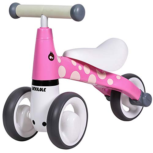 BEKILOLE Baby Sliding Bike Ride On Toy Bikes Bicycle Children No Foot Pedal Three Wheels  First Trike Toddler Bike 1 to 3 Years  Rose