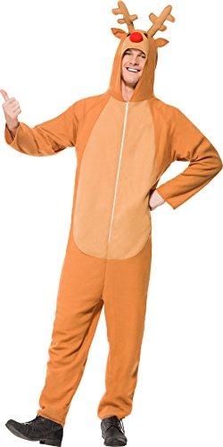 Smiffys, Unisex Rentier Kostüm, All-in-One mit Kapuze, Größe: L, (Rentier Ideen Kostüme)