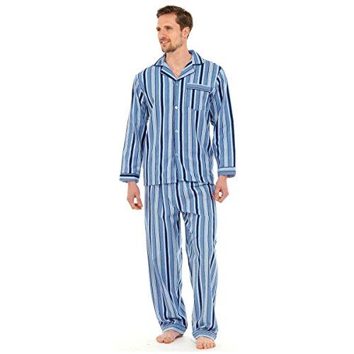 Mens, Die Traditionelle Flanell PJ Pyjama Set Nachtbekleidung PJ Schlafanzüge Sets Herren Baumwolle - M, Hellblau Gestreift - Baumwolle Pj Set