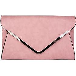 styleBREAKER Envelope Clutch, Abendtasche im Kuvert Design mit Schulterriehmen und Trageschlaufe, Damen 02012047, Farbe:Rose