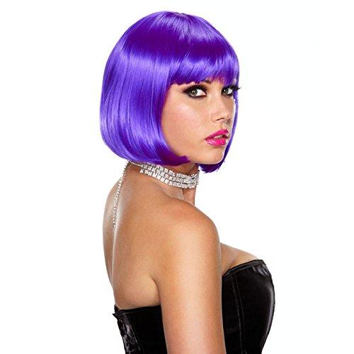 Kurze violette bob Perücke PLAYFULLY (Bohne Kostüme)