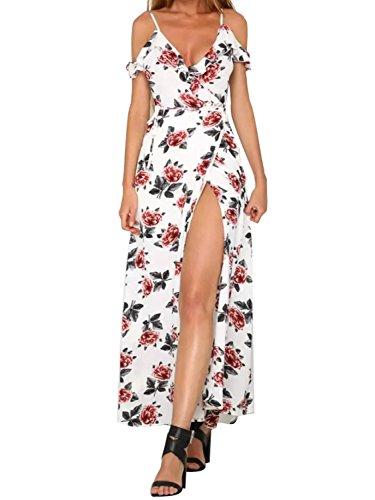 Simplee Apparel le estate decorativo split freddo spallina / collo maxi vestito bianco a fiori Bianco