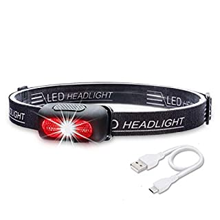 Xiancai Headlamps Rechargeable, Head Torch, 5 Modes, White & Red LEDs, 120LM, Water Resistant - Black