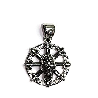 ARADA Pendant for Bikers and Goths showing Skulls and Daggers in 925 Silver