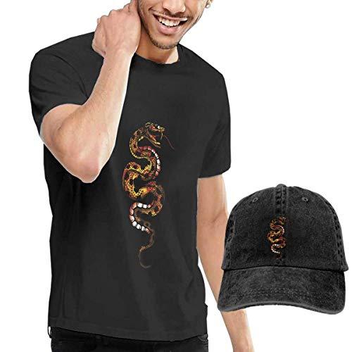 Welikee T SHIRTS, Baseballmütze, Men's Short Sleeves Snake T-Shirt + Jeans Hats Combo Set -