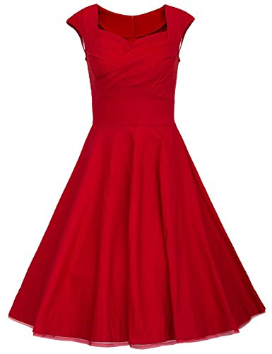 Dresstells Vintage 1950's Audrey Hepburn robe de soirée cocktail, bal style années 50, Rockabilly, Swing Rouge