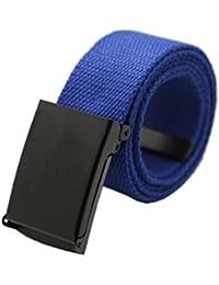sourcingmap Unisex Adjustable Canvas Belt No Holes Slide Buckle Metal Tip End