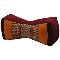 Kapok Thaikissen, Yogakissen, Massagekissen, Kopfkissen, Tantrakissen, Sitzkissen - Braun/Orange (Knochen - 11x15x33)