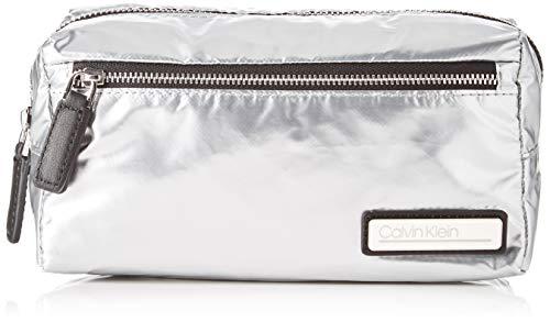 Calvin Klein Damen Primary Cosmetic Bag S Umhängetasche, Grau (Silver), 11.5x13x24 cm (Kosmetiktasche Calvin Klein)