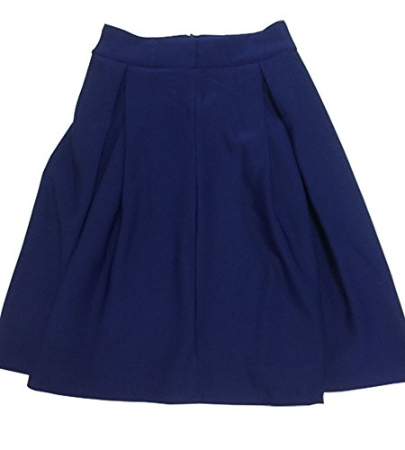 Minetome Mesdames Rétro élégante Jupe Longue Taille Haute Jupe Plissée Genou Sexy Haute Bleu Foncé