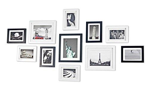 Bilderrahmen Set aus Echtholz mit Glasscheibe - 11er Set Fotorahmen Kollage - 135x70cm - Schwarz&Weiß - enthält Passepartout - Rahmenbreite 2cm!
