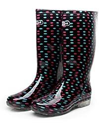 Botas de Lluvia para Mujer de Media Pantorrilla Zapatos de Agua Antideslizante Transparentes de PVC de Verano
