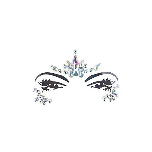 (WUYANES Gesichts-Tattoo Face Art Spinne Halloween Karneval Face Jewels Sticker- Meerjungfrau Gesicht Strass Selbstklebende Temporäre Haut Kunst Aufkleber)