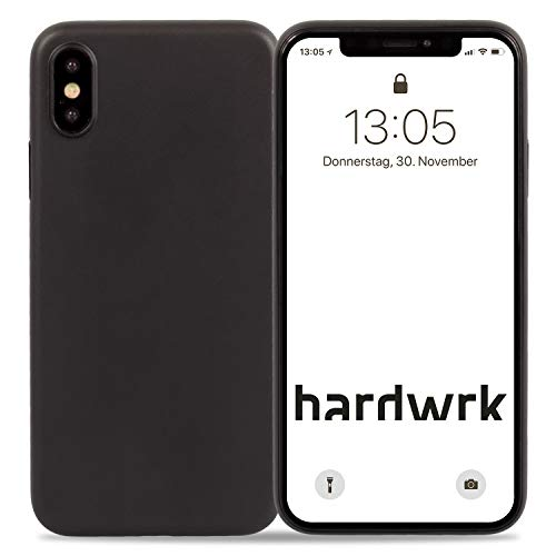 hardwrk Ultra-Slim Case - kompatibel mit Apple iPhone XS Max - solid Black - Elegante Schutzhülle Handyhülle Cover Hülle - Unterstützt kabelloses Laden - Qi - Wireless Charging - schwarz - Ultra Slim Case