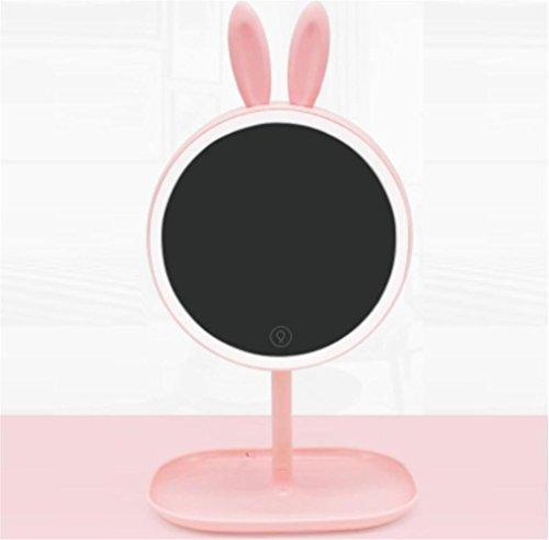 D1-licht-bad (HAPPYMOOD Schminkspiegel Berührbarer Schalter Make-up Lagerung LED-Licht Weich Luminiert Niedlich Schöner Spiegel Mädchen benutzen , D1)