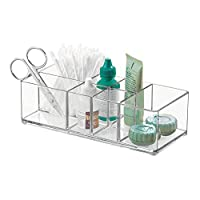iDesign Medicine Storage Box for Bathroom and Medicine Cabinet, Small Plastic Bathroom Storage with 7 Compartments, Practical Make Up Organiser for Bathroom Accessories, Clear