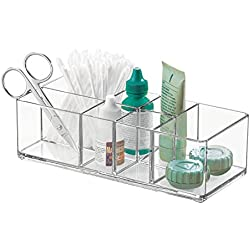 iDesign boîte de rangement pour salle de bain et armoire à pharmacie, petite boîte à pharmacie en plastique, boîte transparente à 7 compartiments, transparent