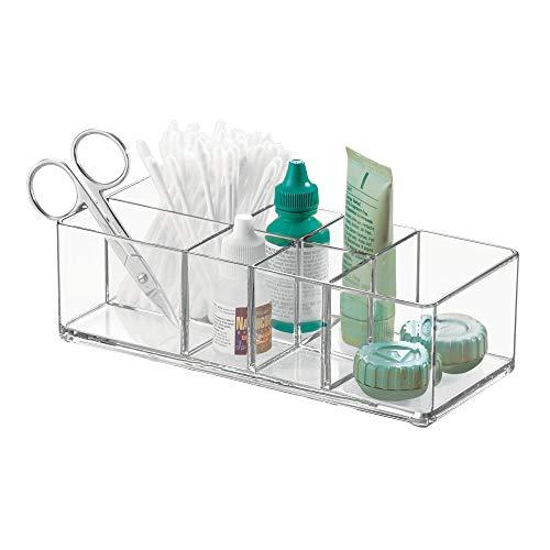 iDesign Medikamentenbox für Bad und Medizinschrank, kleine Medizinbox aus Kunststoff, übersichtliche Medikamenten Aufbewahrung mit 7 Fächern, durchsichtig -