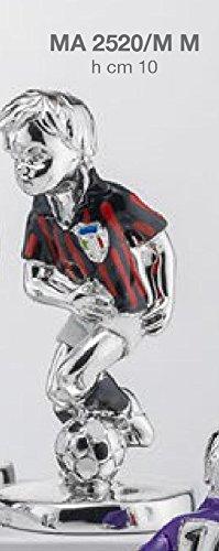 Statuina giocatore calcio squadra milan h.cm 10 smaltata laminato argento made in italy con scatola