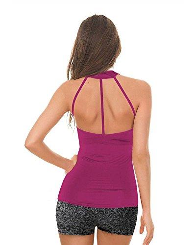 Donna Fitness Yoga Canottiera Sportivo Imbottito Canotta Sport Viola