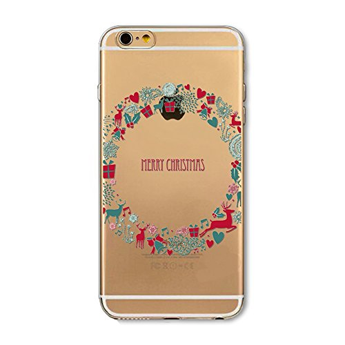 Custodia iPhone 4S,iPhone 4S Cover,SainCat Custodia in Morbida TPU Protettiva Cover per iPhone 4S,Creative Design Transparent Silicone Case Ultra Slim Sottile Morbida Transparent TPU Gel Cover Shock-A corona di Natale
