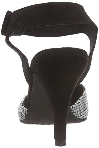 Tamaris - 29605, Scarpe col tacco con cinturino a T Donna Multicolore (Multicolore (Nero/bianco 005))