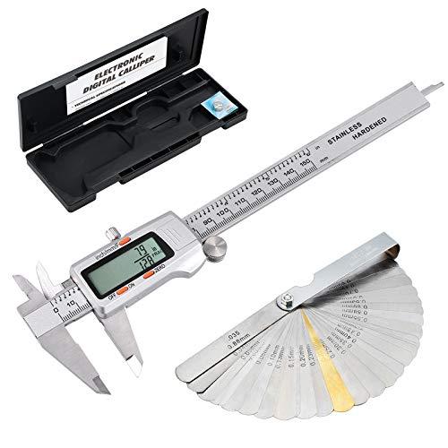 eSynic Calibre Digital 150mm/6inch pie de rey con Calibrador Electrónico Fracciones/Inch/Metrico con Calibrador de Espesores Acero Inoxitable para Ingeniero de Diseño y Diámetro Mecánico