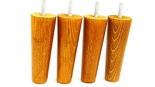 Knightsbrandnu2u 4x Füße Ersatz Möbel Beine aus Holz 150mm Höhe für Sofas, Stühle, Hocker M8(8mm) cwc825 goldene Eiche -