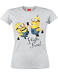 Minions High Five Camiseta Mujer Gris/Melé M