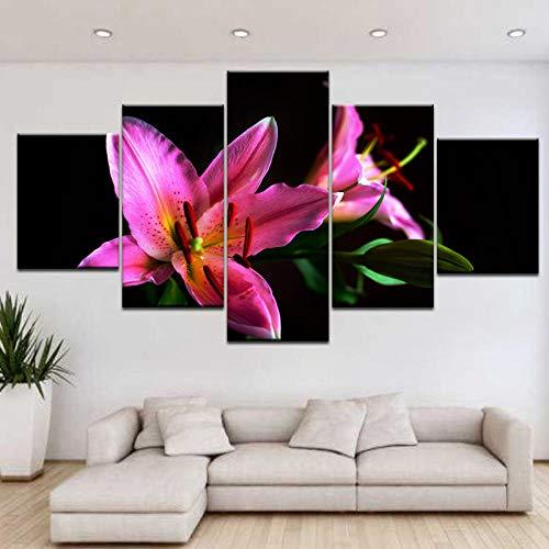 IGZAKER 5 Stücke Hd Gedruckt Rosa Feuer Lilie Blumen, Wand Poster Druck Auf Leinwand Kunst Malerei Für Wohnzimmer, Home Deco Kunstwerk Kein Rahmen / 40X60 40X80 40X100 cm