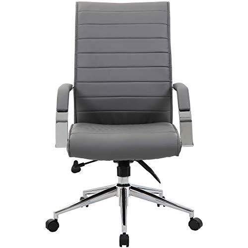 Certeo Chefsessel Identity mit Lederbezug und hoher Rückenlehne, grau - Bürostuhl mit Soft Touch Leder - Schreibtischstuhl mit italienischem Design