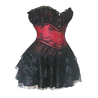 Grebrafan Lace Overlay Boned Corset Bustier Mini Skirt Party Evening Dress EU(40-42) 2XL