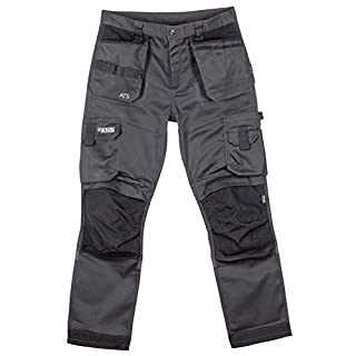 Apache ATS 3D Stretch Fit Tapered Leg Holster Pocket Work Wear Trousers (32S) Grey/Black