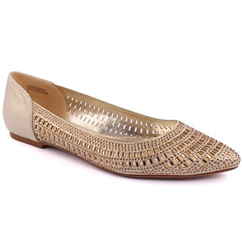 Unze Le nuove donne Ladies 'Fleria' ritaglio Progettato Diamante Impreziosito da sera, da sposa, da partito di promenade Slip-on scarpe piane Dimensioni 3-8 Oro