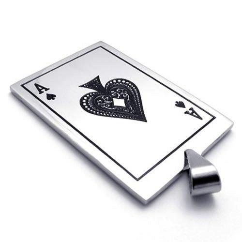KONOV Schmuck Edelstahl Poker Karte Pik A Anhänger mit 50cm Kette, Halskette für Herren Damen, Schwarz Silber - 2