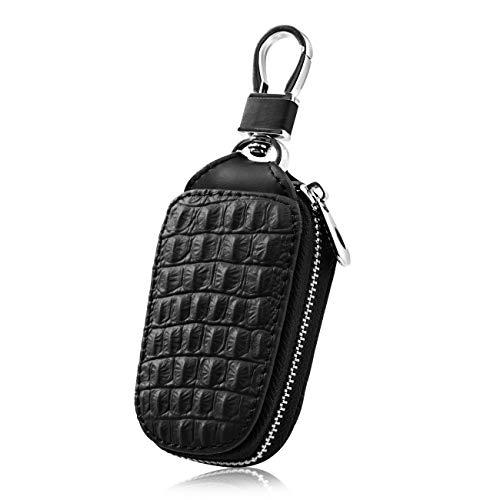Preisvergleich Produktbild Favoto Echtes Leder Autoschlüssel Tasche Etui Schutzhülle Tragbar Auto Schlüsselanhänger Schwarz