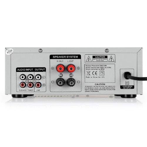 Imagen 3 de LTC Audio ATM 2000 USB - Amplificador stereo karaoke (USB, 2 x MIC, 3 x LINE, incluye mando a distancia), plateado