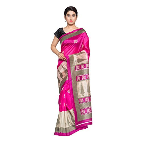 Oomph! Women's Printed Art Silk Sarees - Hot Pink & Oatmeal Beige & Olive