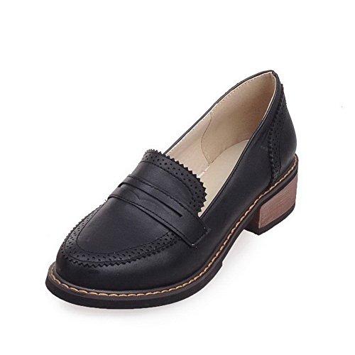 AgooLar Femme à Talon Bas Tire Couleur Unie Matière Souple Rond Chaussures Légeres Noir