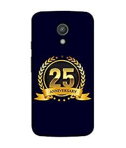 Motorola Moto G2, Motorola Moto G (2nd Gen) Back Cover 25th Aniversary Golden Logo Design From FUSON