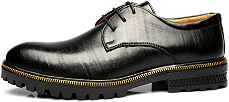 SunnyBaby Herren Low Top Business Schuhe Matte echtes Leder Lace Up Breathable ausgekleidet Outsole Oxfords Abriebfeste