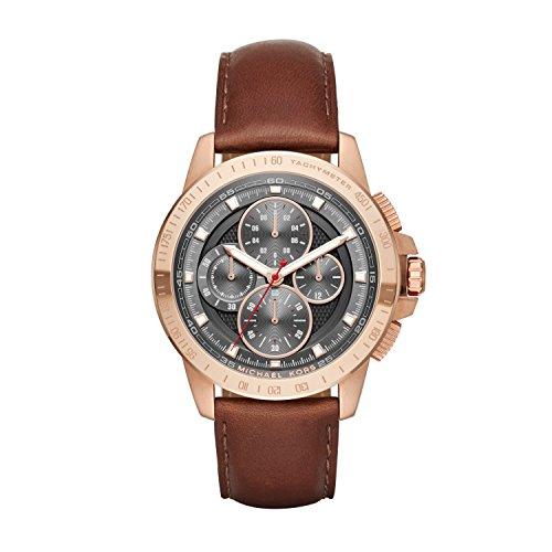 Michael Kors Ryker - Reloj análogico de cuarzo con correa de cuero para hombre, color marrón/gris