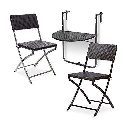 3 tlg. Sitzgruppe Balkon BASTIAN, Balkonhängetisch, 2 Klappstühle, klappbar, Tisch höhenverstellbar, Rattan-Optik, schwarz