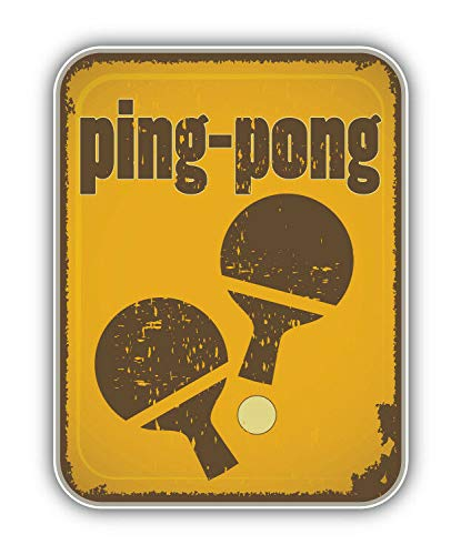 Tiukiu Ping Pong Retro Sport Label Vinyl Decal Sticker for Laptop Fridge Guitar Car Motorcycle Helmet Toolbox Luggage Cases 10 Inch In Width